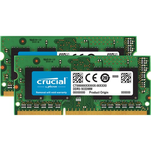 PCM   Crucial, 32GB kit (2x16GB) DDR3L-1600 SODIMM, CT2KIT204864BF160B