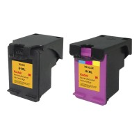 eReplacements Kodak 2-Pack High Yield Black, triColor Remanufactured Ink Cartridge Replacement for HP 61XL for use with HP DeskJet 10XX, 15XX, 2050A J510, 25XX, 35XX; Envy 45XX, 55XX; Officejet 2620, 46XX CZ138FN-KD