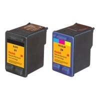 eReplacements Kodak 2-Pack High Yield Black, Color (Cyan, Magenta, Yellow) Remanufactured Ink Cartridge Replacement for HP 21, HP 22 for use with HP DeskJet 3915, 3930, 3940, F390; psc 1410, 1410v C9509BN-KD