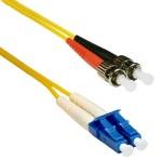 ST to LC 9/125 Singlemode Duplex Yellow 3 Meter Fiber Cable
