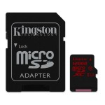 Kingston 128GB microSDXC UHS-I Class U3 90MB/s read, 80MB/s write + SD SDCA3/128GB