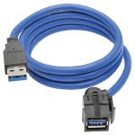 USB 3.0 Superspeed Keystone Jack Type-A Extension Cable M/F 3 ft