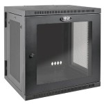"12U Wall Mount Rack Enclosure Cabinet Hinged Acrylic Window 24.5"" Depth 200lb Capacity"