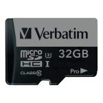 Verbatim PRO - Flash memory card ( SD adapter included ) - 32 GB - UHS Class 3 / Class10 - 300x/600x - microSDHC UHS-I 47041