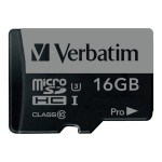 Verbatim PRO - Flash memory card ( SD adapter included ) - 16 GB - UHS Class 3 / Class10 - 300x/600x - microSDHC UHS-I 47040