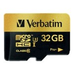 Verbatim PRO+ - Flash memory card (microSDHC to SD adapter included) - 32 GB - UHS Class 3 / Class10 - microSDHC UHS-I 44033