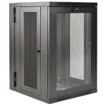 SmartRack 18U UPS-Depth Wall-Mount Rack Enclosure Cabinet with Clear Acrylic Window, Hinged Back