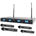 Pyle Wireless Microphone System, UHF Quad Channel PDWM4360U