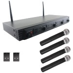 Pyle Wireless Microphone System, UHF Quad Channel Fixed Frequency (4 handheld microphones) PDWM4520