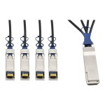40 GbE QSFP+ to 10 GbE SFP+ Passive DAC Copper Breakout Cable (M/M), QSFP+ to (x4) SFP+, 2 m (6.5 ft.)