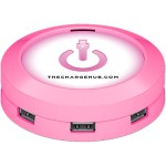 Inside Track Advantage ChargeHub 7-Port USB Universal Charging Station - Round/Pink CRGRD-005