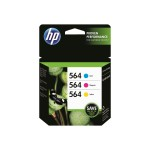 564 Combo Pack - 3-pack - yellow, cyan, magenta - original - ink cartridge - for Deskjet 35XX; Photosmart 55XX, 55XX B111, 6520, 65XX B211, 75XX, 75XX C311, eStation C510