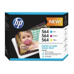 HP Inc. 564 Photo and Card Value Pack - 3-pack - yellow, cyan, magenta - print cartridge / paper kit - for Deskjet 35XX; Photosmart 5522, 55XX B111, 65XX B211, 7510 C311, 7520, eStation C510 J2X80AN#140