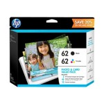 HP Inc. 62 Value Pack - 2-pack - black, color (cyan, magenta, yellow) - original - ink cartridge - for Envy 55XX, 56XX, 76XX; Officejet 250, 57XX, 8040 K3W67AN#140