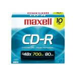 Maxell 48x CD-R 700MB Data Storage Media  - 10 Pack Slim Jewel 648210