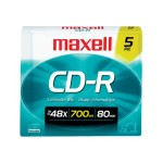 48x CD-R 700MB Data Storage Media  - 5 Pack Slim Jewel Case