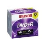 Maxell 4.7GB DVD+R 4x Media w/Jewel Case, 10 Pack 634035
