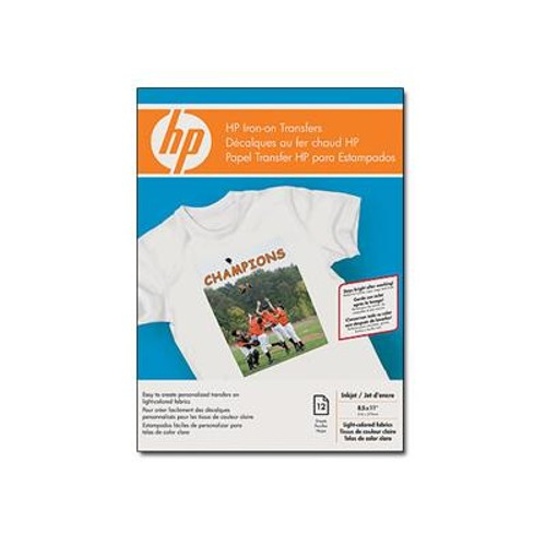 HP Iron-on Transfers for White and Light Color Fabrics - 8.5 x 11 in, 12 sheets