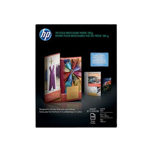 HP Inkjet Matte Tri-fold Brochure Paper - 8.5 x 11 in (100 sheets)
