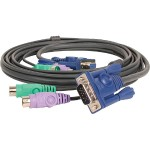 Keyboard / video / mouse (KVM) cable - 6 pin PS/2, HD-15 (M) to 6 pin PS/2, HD-15 - 6 ft