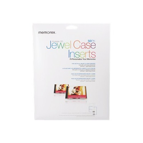 Macmall memorex labelmaker jewel case insert 50 pack for Memorex dvd inserts template