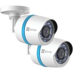 1080p Weatherproof PoE Bullet IP Camera with 100ft Network Cable, 2 pk