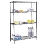 """Commercial Wire Shelving,  48 x 18"""", Black"""