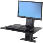"WorkFit-SR Sit-Stand Workstation - Stand for LCD display / keyboard - aluminum - black - screen size: up to 24"" - desktop stand"