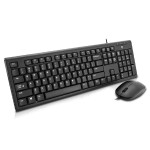 USB Wired Keyboard and Mouse Combo - US - Black