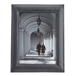 Emporium Leather Company ROYCE Executive 5 x 7 Desk Photo Frame Display in Genuine Leather - Black 876-BLK-6
