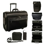 Emporium Leather Company ROYCE Executive Rolling 15 Laptop Briefcase Bag Handcrafted in Genuine Leather - Black 629-BLACK-5