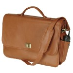 Emporium Leather Company ROYCE Executive 15 Laptop Briefcase Handcrafted in Genuine Leather - Tan 640-TAN-3