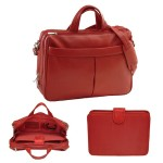 Emporium Leather Company ROYCE Laptop 15 Briefcase Shoulder Bag Handcrafted in Genuine Leather - Red 643-RED-4