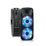 "Rechargeable Double 15"" 2-Way BT Speaker and Dual VHF Mic"