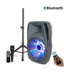"Technical Pro 15"" 2-Way Active BT Speaker Package with Tripod Stand and Mic PSHAKE1730PKG"