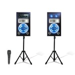 Bluetooth Stage Speaker System Package with 2 Tripods and Mics