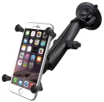 Twist Lock Suction Cup Mount with LONG Length Double Socket Arm & Universal X-Grip Large Phone/Phablet Cradle