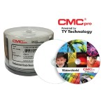 CMC Pro, 48X, CD-R, WaterShield White Inkjet (Hub Printable), 50 Disc Cakebox