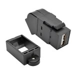 TrippLite USB 2.0 All-in-One Keystone/Panel Mount Angled Coupler (F/F), Black U060-000-KPA-BK