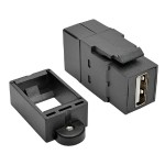 TrippLite USB 2.0 All-in-One Keystone/Panel Mount Coupler (F/F), Black U060-000-KP-BK
