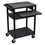 "Luxor LP34LE-B - 42"" H A/V Cart - Three Shelves, Front Pullout LP34LE-B"
