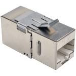 Cat6a Straight Through Modular Shielded In Line Coupler RJ45 F/F - Network coupler - RJ-45 (F) to RJ-45 (F) - shielded twisted pair - CAT 6a - 90° connector, down-angled connector - silver