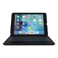 Incipio ClamCase+ Power - Keyboard and folio case - with power bank - backlit - Bluetooth - black keyboard, black case - for Apple 9.7-inch iPad Pro IPD-326-BLK