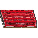 Ballistix Sport LT - DDR4 - 32 GB: 4 x 8 GB - DIMM 288-pin - 2400 MHz / PC4-19200 - CL16 - 1.2 V - unbuffered - non-ECC - red
