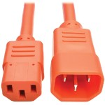 2ft Computer Power Extension Cord 10A 18 AWG C14 C13 Orange 2' - Power extension cable - IEC 60320 C14 to IEC 60320 C13 - 2 ft - orange
