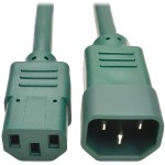 6ft Computer Power Extension Cord 10A 18 AWG C14 to C13 Green 6' - Power extension cable - IEC 60320 C14 to IEC 60320 C13 - 6 ft - green