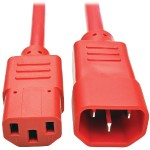 6ft Computer Power Extension Cord 10A 18 AWG C14 to C13 Red 6' - Power extension cable - IEC 60320 C14 to IEC 60320 C13 - 6 ft - red