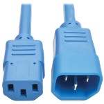 2ft Computer Power Extension Cord 10A 18 AWG C14 to C13 Blue 2' - Power extension cable - IEC 60320 C14 to IEC 60320 C13 - 2 ft - blue