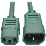 2ft Computer Power Extension Cord 10A 18 AWG C14 to C13 Green 2' - Power extension cable - IEC 60320 C14 to IEC 60320 C13 - 2 ft - green