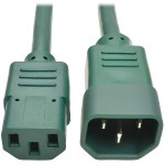 3ft Computer Power Extension Cord 10A 18 AWG C14 to C13 Green 3' - Power extension cable - IEC 60320 C14 to IEC 60320 C13 - 3 ft - green